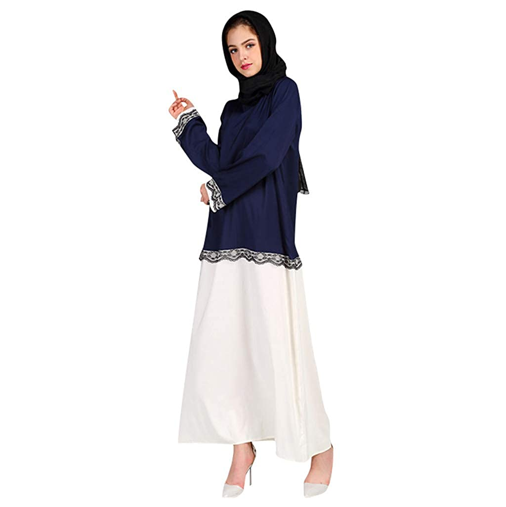 Muslim Dresses for Women,Longra Ladies Summer New Print Trumpet Sleeve Embroidery Elegant Swing Dress