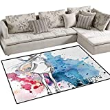 Girls,Carpet,Sketchy Fashion Lady with Hat Looking Watercolor Splash Brushstroke Steam Artsy Image,Rug Kid Carpet,Pink Blue,36''x48''