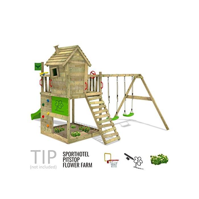 Casa de juegos de jard/ín con arenero y escalera para ni/ños FATMOOSE Parque infantil de madera TikaTaka Town XXL con columpio SurfSwing y tobog/án