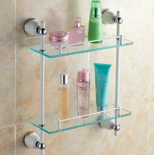 TACCY Bathroom Glass Shelf with Two White+Chrome Finish Brackets Brass made Toughened Safety Mounted Glass shelf #MK02C
