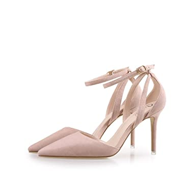 49eaec0e03 Women's Buckle Summer Sandals Sexy Stiletto High Heels Party Bridal Pumps  Ladies Elegant Solid Pointed Toe