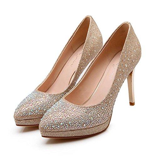 Diamante Brillante Cabeza Acentuada Zapatos De Vestir De Noche Tacones Talón Delgado Zapatillas Para Mujer Discoteca Oro