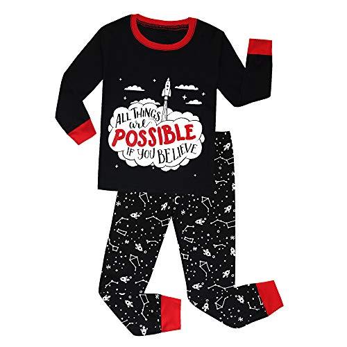 Boys Pajamas Dinosaur Space 100% Cotton Christmas Toddler Pjs Sets for Kids Size 2-10 (Rocket, 3T)