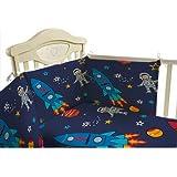 Shopisfy Children's Toddler Bedroom Nursery Colourful Printed Bedding, Cot Bumper Duvet Set - Space Boy