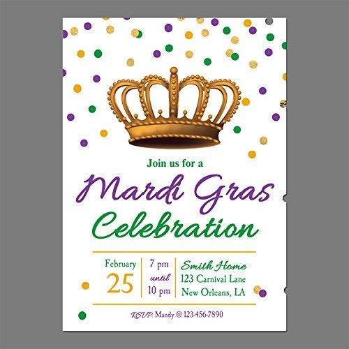 Image Unavailable. Image not available for. Color: Mardi Gras Invitation - ANY Wording- ...