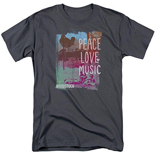 Trevco - Peace Love Music - Adult T-Shirt - - Tee Ladies Woodstock