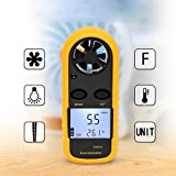 RUNMIND Digital Anemometer Handheld Wind Speed Meter for Measuring Wind Speed, Temperature and Wind Chill with Backlight and Max/Min