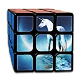 White Unicorn And Moon 3x3x3 Speed Rubik's Magic Cube Square Graphical Puzzles Game Portable Toys-Anti Stress For Anti-anxiety Adults Kids