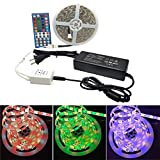 Autai Music Control RGBW Flexible LED Strip Light Lamp Kit 16.4ft SMD 5050 Waterproof 300leds + 44Key IR Remote Controller + Power Supply