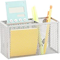Honey-Can-Do BTS-06556 eXcessory 3-Slot Mesh Organizer, Silver, 7.09L x 2.56W x 3.74H