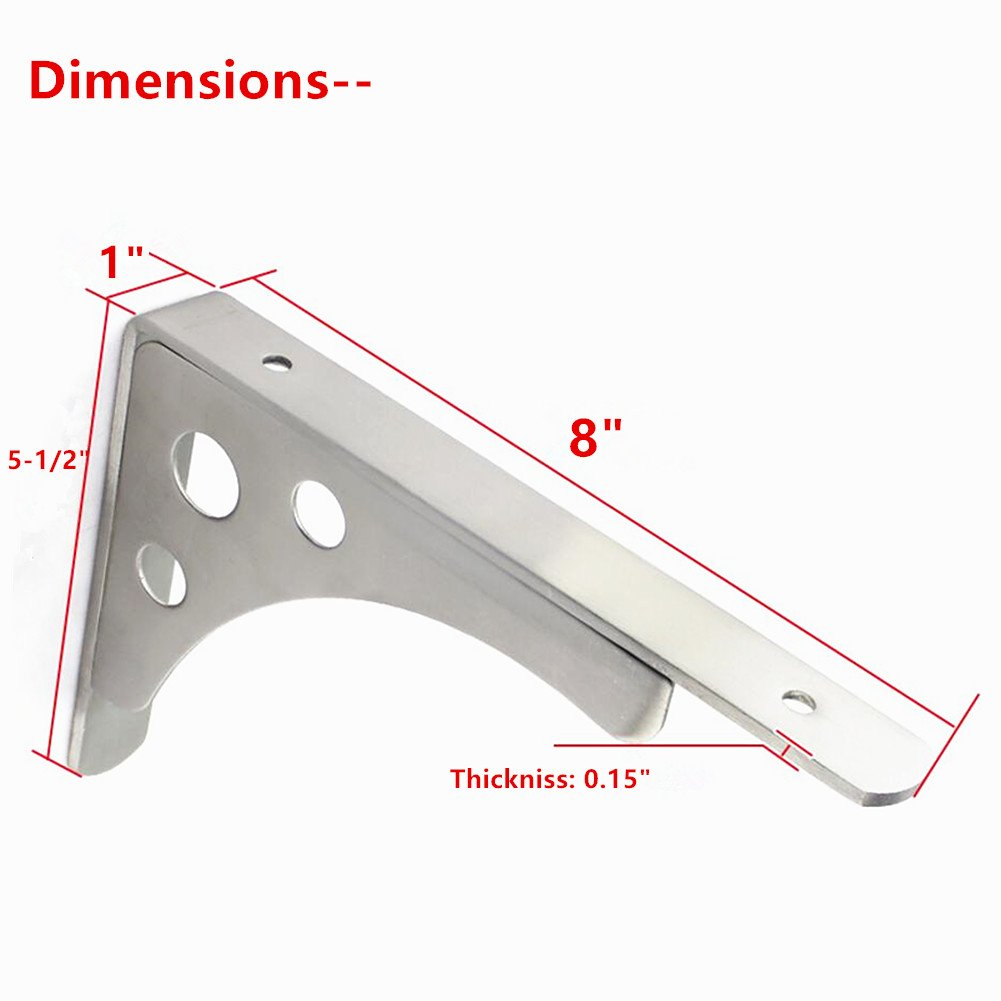 Wall Mounted Shelf Brackets Support Stainless Steel 8'' Long Arm Dual Purpose Shelf Brackets Tray Max Bearing 50lb Sold in two Pairs(Board Not Included) (8''-two pairs)