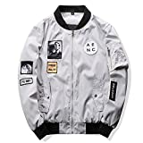 Marvin Cook Men Bomber Jacket Hip Hop Patch Designs Slim Fit Pilot Bomber Jacket Coat Plus Size 4XL Gray 4XL