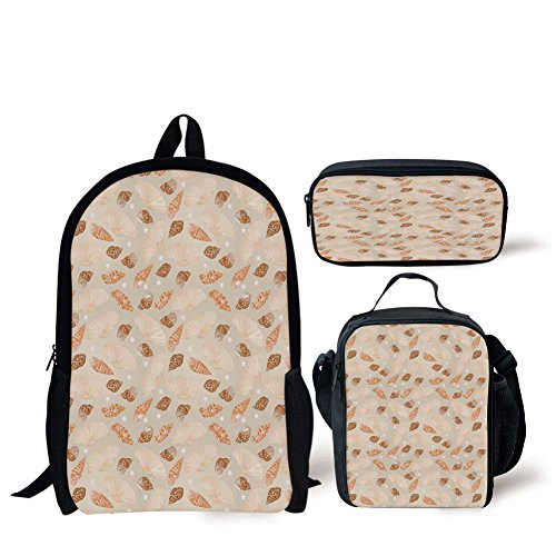 School Lunch Pen Bags,Pearls Decoration,Pattern with Pearls Seashells an Oysters Natural Marine Life Style Decor Beach Theme,Tan Peach,Personalized Print