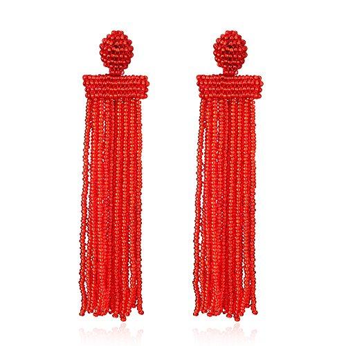 (Bonnie Women's Bead Tassel Earring Long Fringe Statement Boho Earring De La Renta Style (Red))