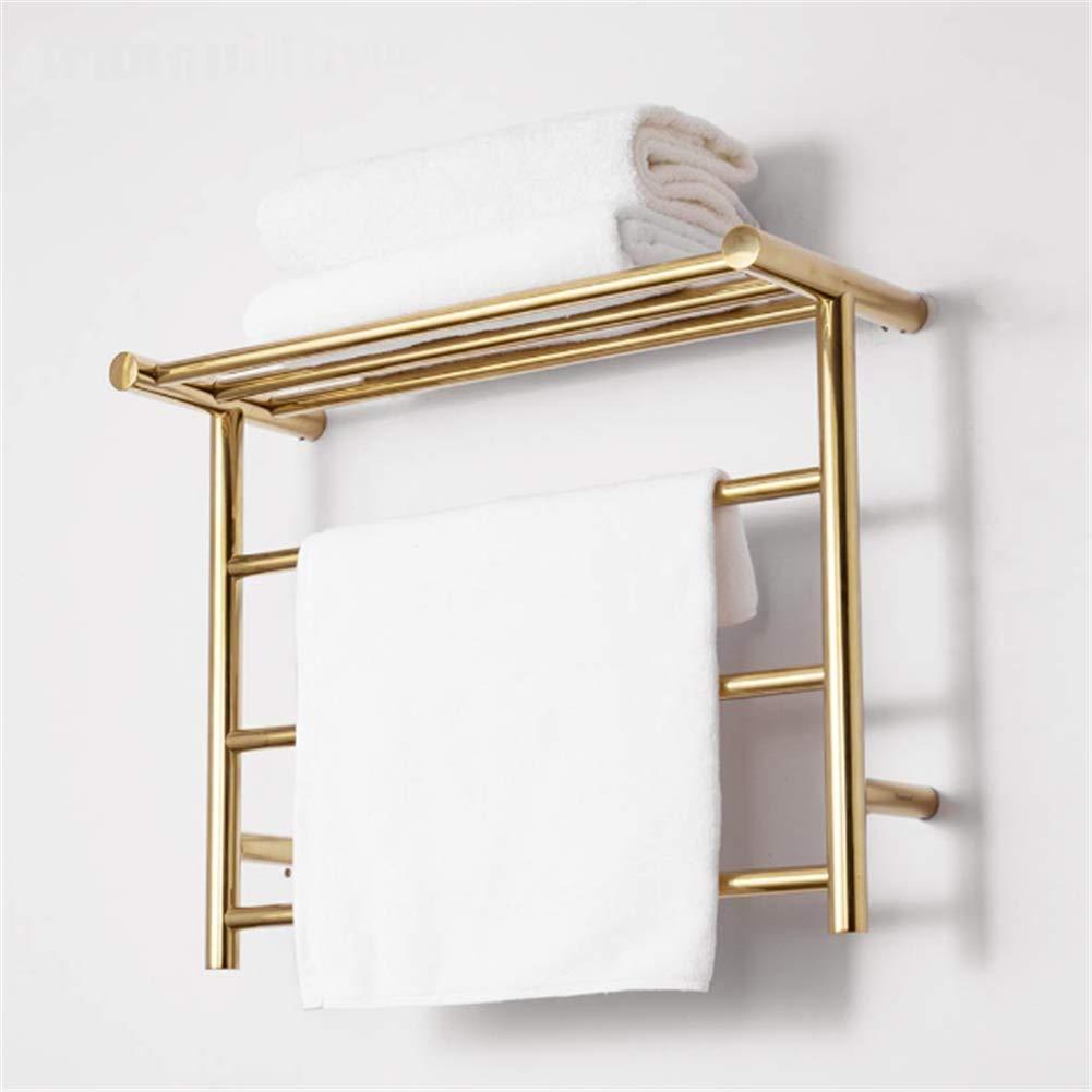 Modern 11-Bar Wall Mounted Towel Warmer,Energy Efficient 35W Electric Heated Towel Rack for Bathroom Steel Towel Heater Rail 304 Stainless Steel,Luxury Gold,Hardwired