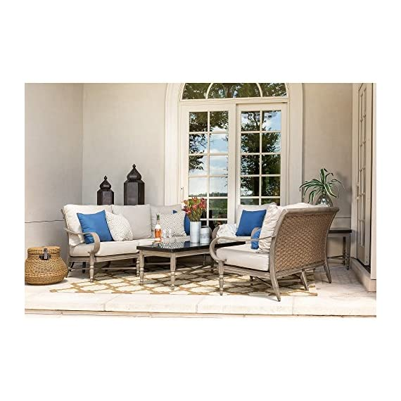 Blue Oak Outdoor Saylor 4PC Patio Furniture Conversation Set (Loveseat, Aluminum Top Coffee Table, 2 Lounge Chairs) with Outdura Remy Sand Cushion - Luxury Dining comfort: you and your party guests will dine in comfort while enjoying cocktails and great conversation. Ideal for patio, garden, deck, porch, fire pit, and poolside entertainment Trusted quality: beautiful and best quality outdoor patio furniture set made by the best known veterans in the patio set industry with dozens of years of experience and innovation Long lasting build: the rustproof aluminum table top is a statement piece for your outdoor space. The thick, rustproof aluminum gives it superior durability in the elements - patio-furniture, patio, conversation-sets - 51Ht06Pbw5L. SS570  -