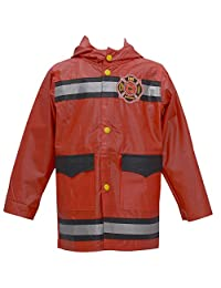 Wippette Baby Boys Red Fire Department Motif Hooded Raincoat 12-24M