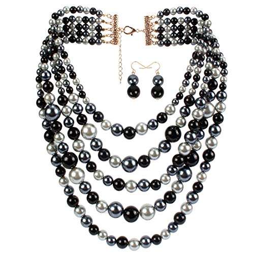 KOSMOS-LI Faux Pearl Strands Necklace for Women Black Mix Tone Costume Statement -