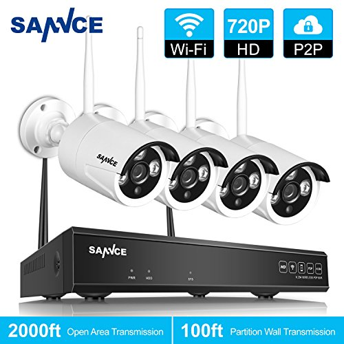SANNCE 4CH 720P HD NVR Wireless Security CCTV Surveillance Systems (4) 1.0MP Wireless WIFI Indoor Outdoor IP Cameras, P2P Remote Clear 100ft Night Vision, No HDD (Surveillance System Cctv Pc Base)