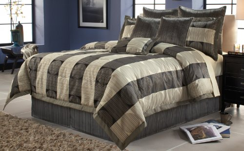 Fashion Bed Group 82EQ713SKY Paramount Skyline 14-Piece Comforter and Stuffed Euro Pillow Bed Ensemble Super Pack, (Southern Textiles Square Pillow)