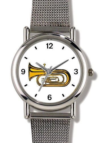 (Tenor Horn, Euphonium or Tuba Musical Instrument - Music Theme - WATCHBUDDY ELITE Chrome-Plated Metal Alloy Watch with Metal Mesh Strap-Size-Small ( Children's Size - Boy's Size & Girl's Size ))