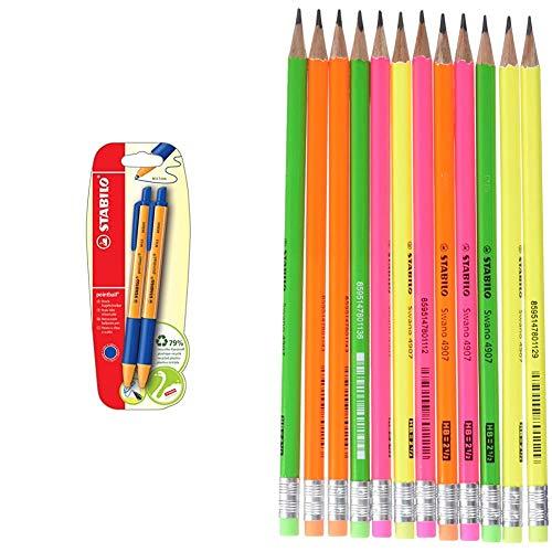 Penna a Sfera Ecosostenibile - STABILO pointball - 79% Plastica Riciclata - Pack da 2 - Blu + Matita in Grafite Eco Pack da 12