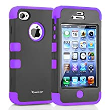 iPhone 4S Case,Apple iPhone 4 Case,Shockproof Heavy Duty Combo Hybrid Defender High Impact Body Rugged Hard PC & Silicone Case Protective Cover For Apple iPhone 4 4S (Purple)