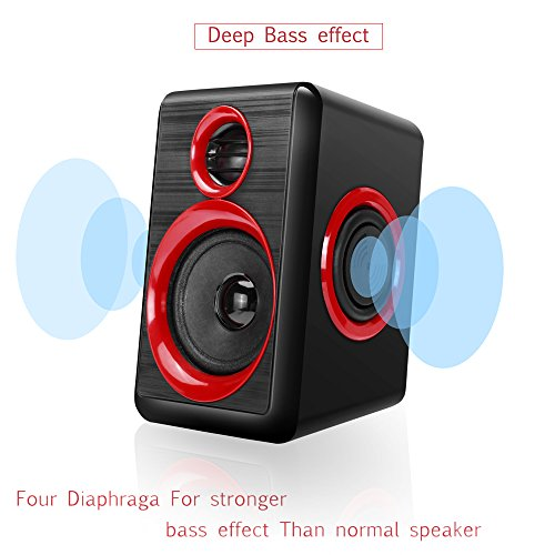 Computer Speakers With Heavy Bass,Subwoofer, Volume Control, 3.5mm Audio, USB Wired Powered Built-in Four Loudspeaker Diaphragm Multimedia Speaker for PC/Laptops/desktop/ASUS/ACER Computer (RED) by TOMOT (Image #3)
