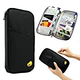 TraderPlus Travel Wallet & Documents Organizer Zipper Case, Family Passports Holder Credit ID Card Cash Purse (Black)