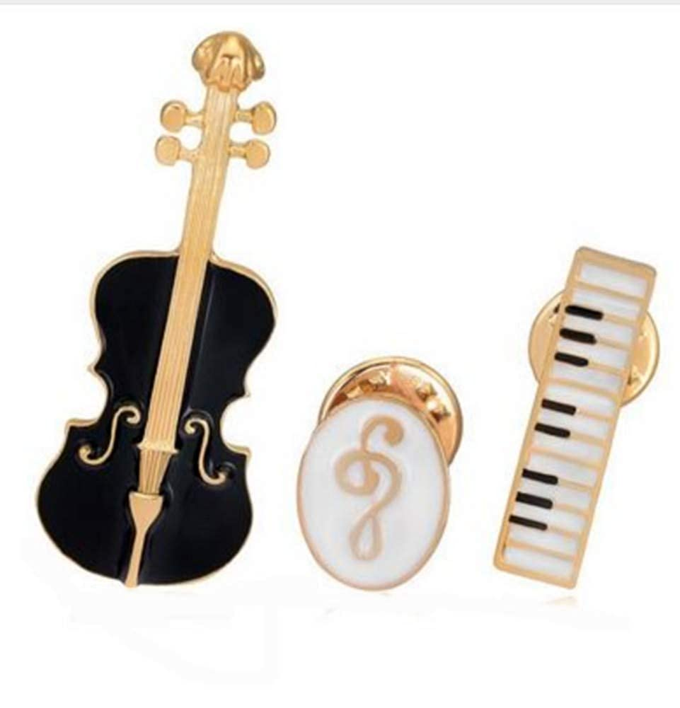 Ensemble de 3 broches violon, clavier piano et clé de sol, musique. clavier piano et clé de sol générique brocm3