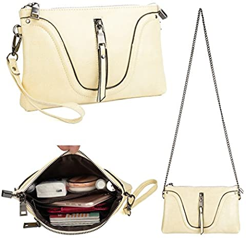 YALUXE Women's Large Capacity Leather Smartphone Wristlet Clutch with Shoulder Strap Cream White