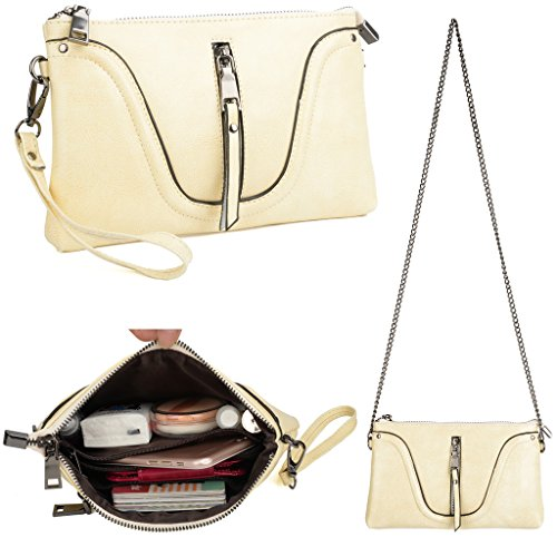 YALUXE Women's Large Capacity Leather Smartphone Wristlet Clutch with Shoulder Strap Cream (Cream Handbag Purse)