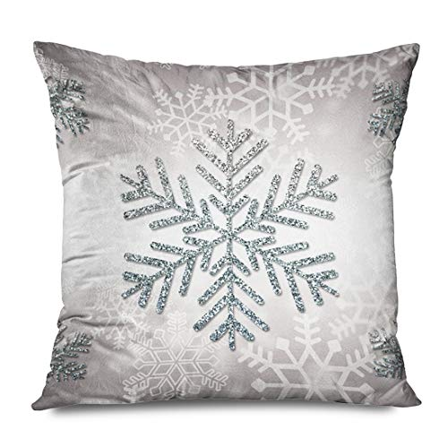 Ahawoso Decorative Throw Pillow Cover Square 18x18 Christmas Holiday Snowflake Silver Protectors Cushion Case Home Decor Zippered Pillowcase (Snowflake Zippered Pillowcases)