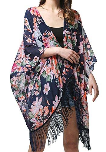 MissShorthair Womens Light Floral Print Chiffon Kimono Cardigan Coverup Blouse Tops