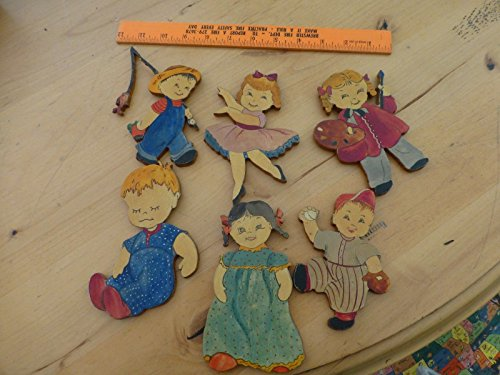 6 Vintage Hand Cut and Carved and Painted Wood Wooden Children Ornaments folk