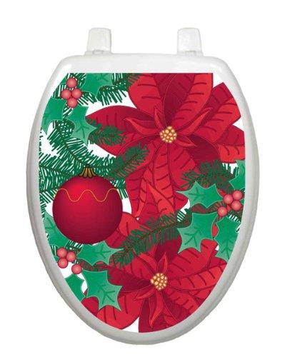Poinsettia Christmas Toilet Tattoo TT-X600-O Elongated Winter Holiday by Toilet Tattoo