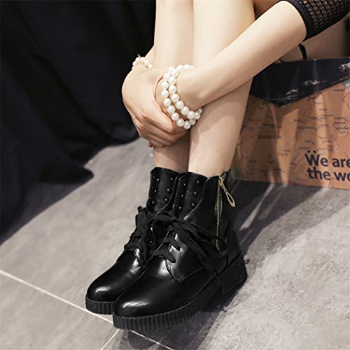 ZQ@QX Cabeza redonda de otoño e invierno elegante, atrevida y Ryu 100 tornillos de masa, Martin botas botas hembra Black