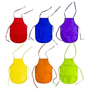 Children's Artists Fabric Aprons - Kitchen, Classroom, Community Event, Crafts & Art Painting Activity. Safe Clean 12 Pack Assorted Colors