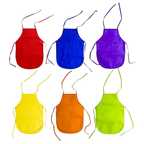 Super Z Outlet Children's Artists Fabric Aprons - Kitchen, Classroom, Community Event, Crafts & Art Painting Activity. Safe Clean 12 Pack Assorted Colors