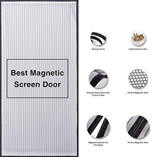 Walk Through Screen Door : Magnetic screen door mesh curtain full frame velcro walk