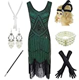 1920s Gatsby Sequin Fringed Paisley Flapper Dress with 20s Accessories Set (XL, Green)