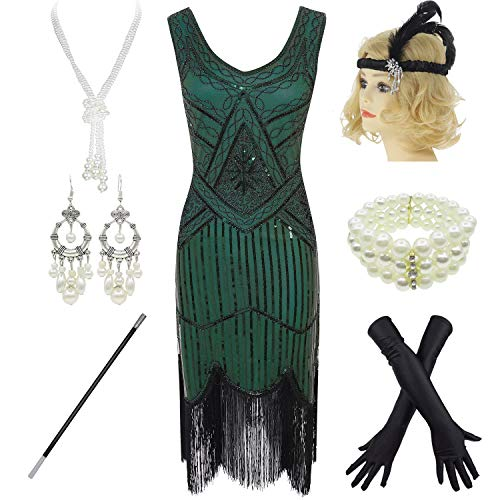 1920s Gatsby Sequin Fringed Paisley Flapper Dress with 20s Accessories Set (L, ()