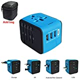 International Power Adapter, All In One Universal Travel Plug Adapter with 1 Type-C and 3 USB Ports, Converters and Travel Adapters for Europe, UK, US, AU & Asia - Safety Fuse (Blue)