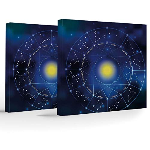 iPrint 2 Piece Canvas Wall Art,Constellation,Modern Home Decor Stretched Framed Ready to Hang,Collection Zodiac Signs in a Geometric Circle Horoscopes Sun -