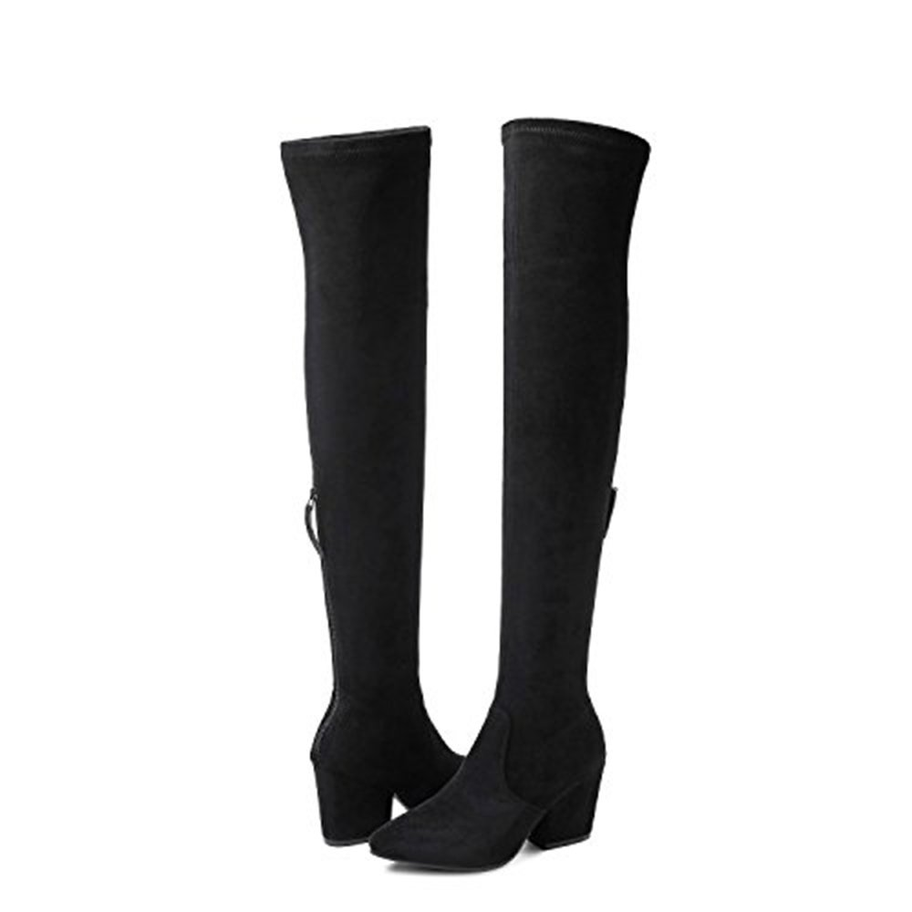 b0e43b6fc7f Amazon.com  Thigh High Block Heel Boot Women Pointed Toe Stretch Over The Knee  Boots  Clothing
