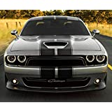 Decal Sticker Graphic Front to Back Stripe Kit Compatible with Dodge Challenger 2008 2009 2011 2013 2015 16