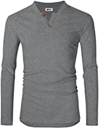 Men's Casual Linen and Cotton V Neck Short Sleeve Henley T-Shirts