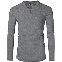 MrWonder Men's Casual Linen and Cotton V Neck Long Sleeve Henley T-Shirts