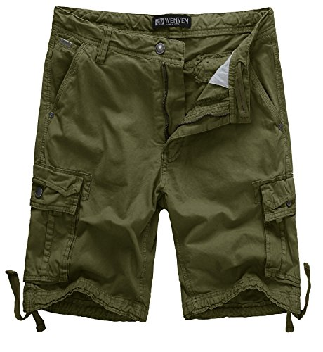 WenVen Men's Active Camo Shorts Cotton Outdoor Wear Lightweight(WV3230 Military Green,31)