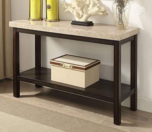 Calgary Dark Walnut Marble/Wood Sofa Table by Furniture of -